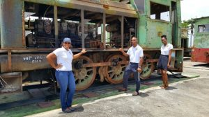 Members of Staff with one of the engines