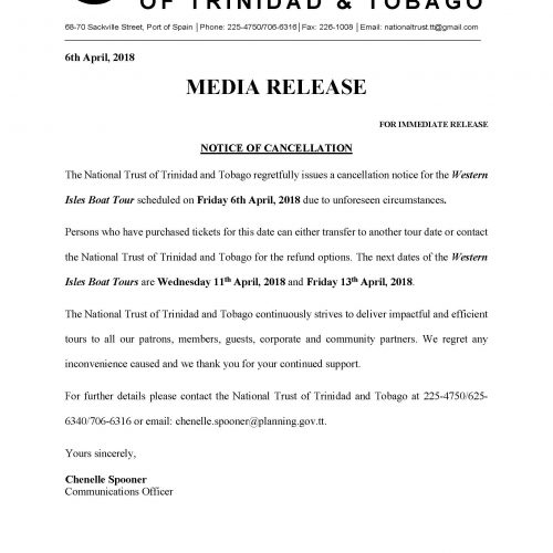 Media Release: Notice of Cancellation